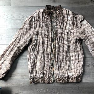 Jackets & Blazers - Reversible Taupe Cat Print Jacket M